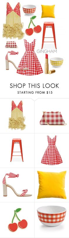 """#gingham #sunshine #cherryred"" by cielshopinteriors ❤ liked on Polyvore featuring MSGM, Mansur Gavriel, Ciel, Alexandre Birman, Georgia Perry and Certified International"