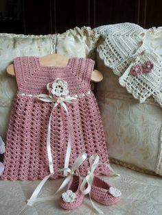 Vestitino all'uncinetto neonata Abito e scarpe neonata completo di coprispalle