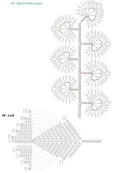 вязаные цветы и листики - 1