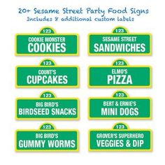 Sesame Street Printable Food Labels / 20 and by PartiPartieParty, $5.00