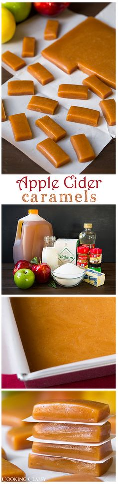 Diy Crafts Ideas Apple Cider Caramels: these taste just like apple cider – flavorful, soft, chewy, buttery and completely delicious. Köstliche Desserts, Delicious Desserts, Dessert Recipes, Yummy Food, Apple Recipes, Fall Recipes, Sweet Recipes, Hard Candy Recipes, Yummy Treats
