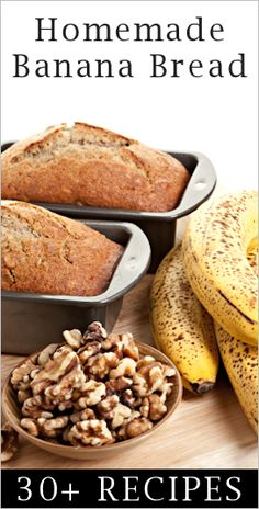 Banana Bread.  Traditional or kicked up a notch with ingredient twists, plus some healtier, low fat recipes.