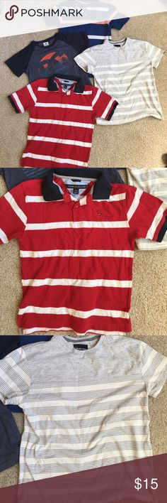 Lot of 4 quality boys shirts 1 red and white striped Tommy Hilfiger shirt, 1 blue/ pink Nautica shirt, 1 Calvin Klein tee shirt and 1 DG tee. All will fit a size 8 . All in good condition Nautica Shirts & Tops Tees - Short Sleeve