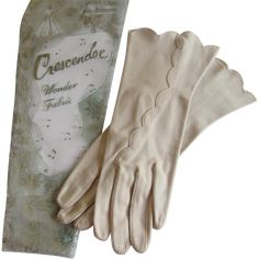 Beige Gloves Vintage 1960s Crescendoe Leather Tailored Cotton Scalloped Edge NIP http://www.rubylane.com/item/676693-ACC130/Beige-Gloves-Vintage-1960s-Crescendoe-Leather