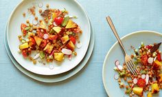 Pineapple chaat masala salad with pineapple, chickpeas, tomatoes, cucumber and radish