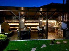 Hangulatos kerti kiülő sütögetővel - erkély / terasz ötlet Pergola, Outdoor Structures, Modern, Home, Bathroom, Washroom, Trendy Tree, House, Bathrooms