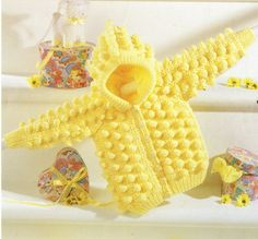 puffball baby crochet cardigan hoodie coat vintage by Ellisadine