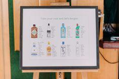 Greenwich Yacht Club in London   DIY Decor   Gin Bottle Table Plan   Anna Pumer Photography   http://www.rockmywedding.co.uk/emillie-ruth/