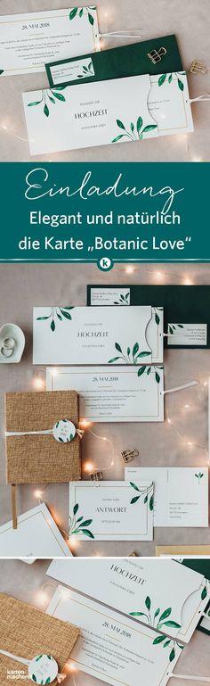 Die Hochzeitspapeterie 'Botanic Love' mischt Natürlichkeit und schlichte Eleganz. Besonders schön wirken die Karten auf strukturiertem Papier.