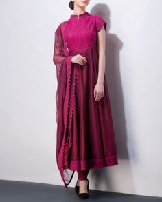 AM:PM - Burgundy Anarkali Suit with Embroidered Bodice
