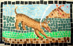 Roman mosaics. Pompeii in the background. dog in the foreground. Ethin6's art on Artsonia