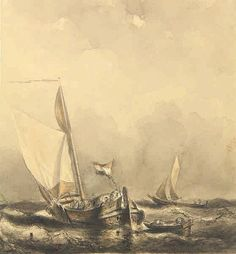 Anonymous (19th cent.). (Two boats in choppy waters). Drawing, pen and ink and watercolour, 29,4x27,2 cm.