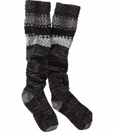 Title Nine: Snowy Owl Knee Sock - Magic-fit socks: with a scrunch knit top and breathable chevron knit, we can wear 'em scrunched down, under—and sometimes over—our knees. Made from Smartwool's lightweight Merino wool/nylon/spandex blend. S(5-6½), M(7-9½), L(10-12½)