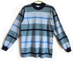 MARIMEKKO Striped Unisex Shirt Cotton Top Blue Gray Neutral Colors Finnish Clothing Vintage Marimekko Clothing Comfortable Everyday Shirt by Vintageby2sisters on Etsy