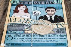 Invitaciones de boda originales: Invitación con caricaturas no es genial?! #bodasgeek #geekweddings