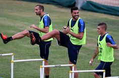 Graziano Pelle of Italy (C) in action during the training session at the club's…