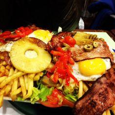 Chivito sandwich with a little roast beef, french fries, etc. - comida típica uruguaya - Montevideo, Uruguay