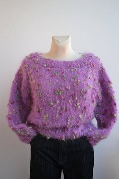 Hand knitted sweater mohair oversized sweater loose knit