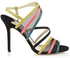 Visby Multi Coloured Mix Leather and Glossy Elaphe Sandals