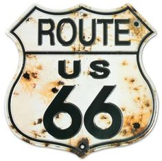 Route 66 Highway Shield, Bullet Holes - Traditional - Novelty Signs - by Flagline Antique Signs, Vintage Signs, Vintage Posters, Route 66 Sign, Novelty Signs, Best Gifts For Him, Old Signs, Sale Poster, Metal Tins
