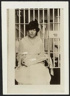'Night of Terror' on Nov. 15, 1917- Lucy Burns' hands were chained to the cell bars above her head and left  hanging, all through the night, bleeding and gasping for air.      WOMEN, VOTE!