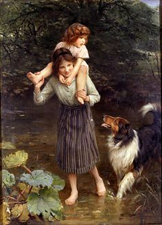"""Crossing The Stream"", by English artist - Arthur John Elsley (1860-1952), Oil on canvas."