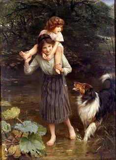 """Crossing The Stream"", by English artist - Arthur John Elsley (1860-1952), Oil on canvas."