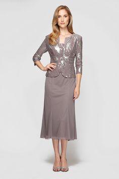 Mother Of The Groom Dresses Tea Length | Alex Evenings 496267 Mother of the Bride or Groom Tea Length Dress ...