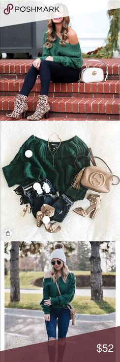 NWT Emerald Off the Shoulder Sweater Brand new with tags Sweaters Cowl & Turtlenecks