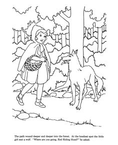 Little Red Riding Hood fairy tale story coloring pages Horse Coloring Pages, Fairy Coloring Pages, Coloring Books, Red Riding Hood Story, Red Riding Hood Wolf, Rainy Day Activities, Color Activities, Easter Bunny Colouring, Wolf Colors
