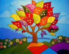 i love the colours! Basic Sketching, Music Tree, Expressive Art, Naive Art, Whimsical Art, Tree Art, Painted Rocks, Art For Kids, Cool Art