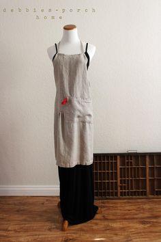 natural linen pintuck full apron