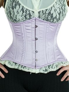 62be1e35840 Short Steel Boned Underbust Corset in Lilac Satin with double steel boning  all around this genuine corset is made for serious lacing
