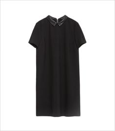 DRESS WITH FAUX LEATHER COLLAR_Hauterfly
