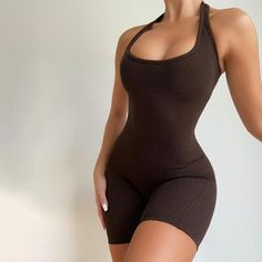 Rompers Women, Jumpsuits For Women, Athleisure, Bodycon Jumpsuit, Short Jumpsuit, Knitted Romper, Knitted Fabric, Black Romper, Looks Vintage