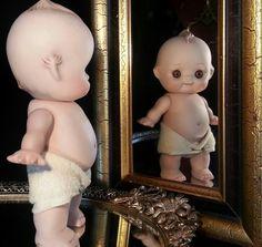 Antique 7 inch Bisque Porcelain Kewpie Doll Figurine Baby Dolls