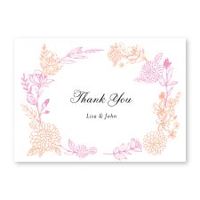 letterpressed leaves in pink - thank you cards