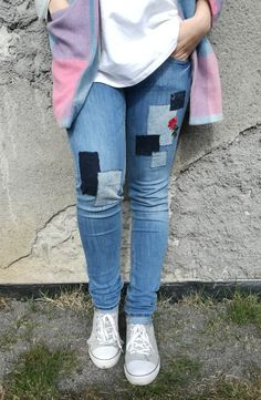 Jeans. H&M. Recycling. Handmade. DIY. Recycling, Skinny Jeans, Pants, Handmade, Fashion, Trouser Pants, Hand Made, Moda, La Mode