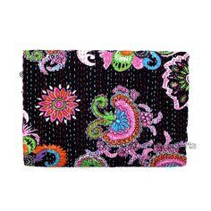 Twin Kantha Quilt Indian Bedding Handmade Bedspread Cotton Throw Bedcover W964 #Handmade #Kantha