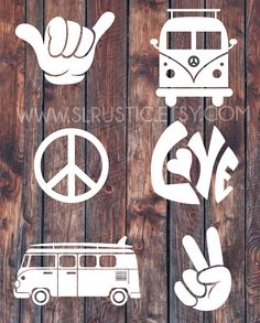 Hippie decals VW van decal peace sign decal shaka hand by SLrustic