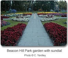 Beacon Hill Park garden with sundial, Great place to get married, Victoria, B.C.