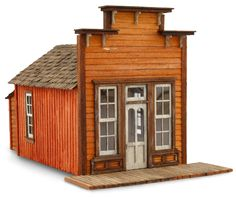 an assay office, by Wild West Models. Popsicle House, Popsicle Stick Houses, Model Trains, Toy Trains, Old Western Towns, Bird Houses, Wooden Houses, Beehive Design, Train Miniature