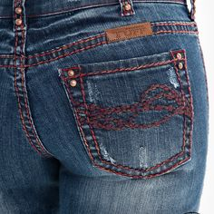 Perfect medium wash jean has just the perfect amount of whiskering & wearing for the red twisted threads to compliment a subtle hint of specialty that you will love. This very flattering jean has an UnBelievable Fit made of premium denim along with Cheap Cowgirl Boots, Cowgirl Tuff, Blue Jeans, Compliments, Denim, Fitness, Red, Pants, How To Wear