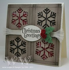 Snowflake card - this technique would look awesome in the corner of a scrapbook page.