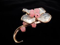 Trifari Brooch, Alfred Philippe Design, Poured glass petals and pink glass beads, set in gold toned metal