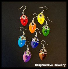 Scale Chainmaille Earrings, Sterling Silver and Swarovski Crystal  by DragonweaveJewelry, $20.00