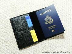 100% handcrafted, hand stitched black cowhide leather unisex wallet/ passport holder