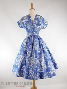 1950s Dress Blue and White Floral Cotton New Look by BeeDeeVintage, $60.00
