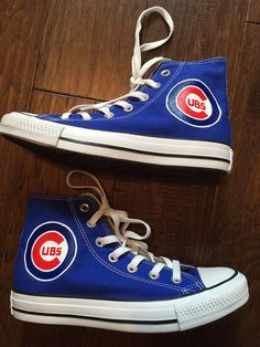 fa3bea5a47a1 Painted Shoes Chicago Cubs Converse by PaperPaintScissors on Etsy Chicago  Cubs Shoes