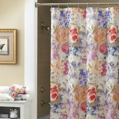 The Ariel shower curtain features bold washes of color in a large ...